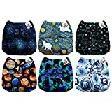 Mama Koala One Size Baby Washable Reusable Pocket Cloth Diapers, 6 Pack with 6 One Size Microfiber Inserts (Outer World)