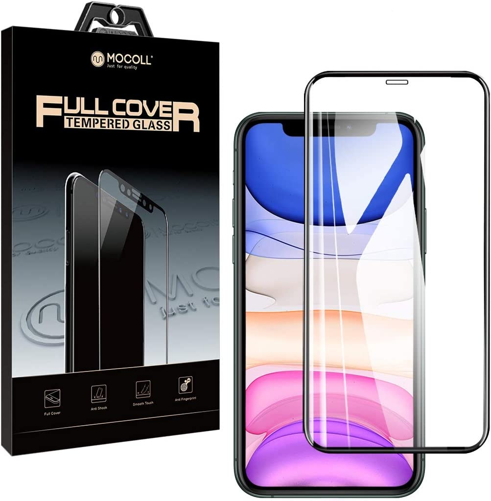 iPhone 11/iPhone XR Tempered Glass Screen Protector Full Coverage HD Film MOCOLL 9H Anti Scratch Fingerprint 0.26 mm Ultra Slim Screen Protector for iPhone 11/XR Smartphone 6.1 Inch