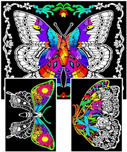 Amazon.com: Stuff2Color Geo Butterfly - Fuzzy Coloring Posters (3 ...