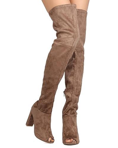 b8c7c677a4e2 Wild Diva Women Faux Suede Peep Toe Thigh High Chunky Heel Boot GA42 - Taupe  (