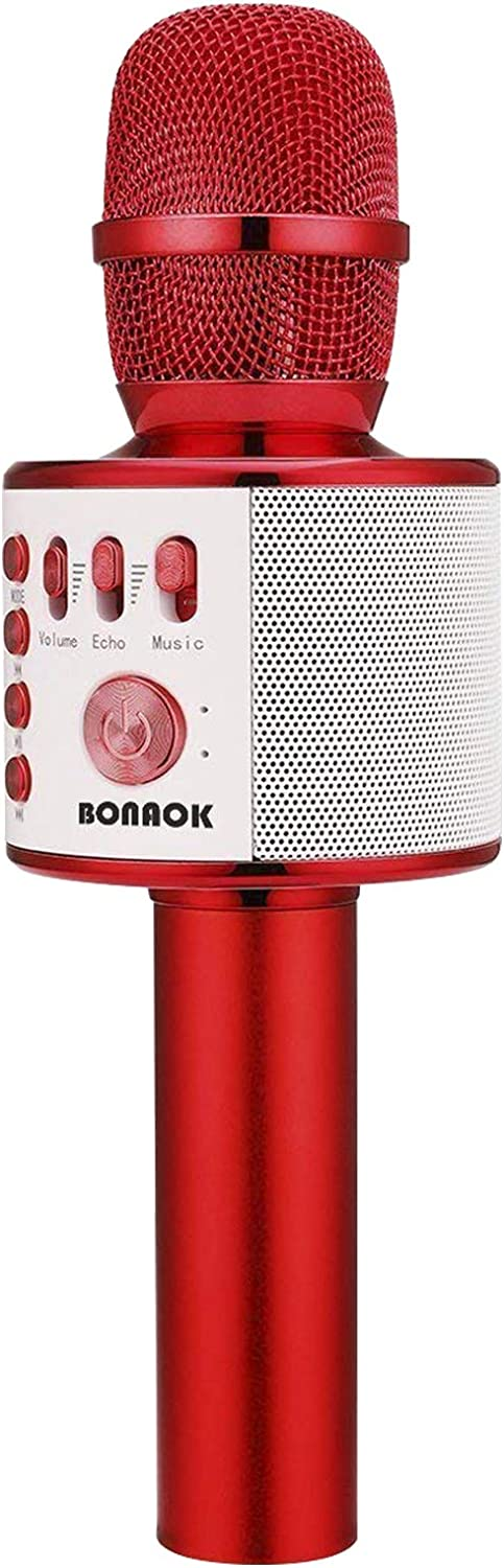 BONAOK Wireless Bluetooth Karaoke Microphone,3-in-1 Portable Handheld karaoke Mic Speaker Machine Christmas Birthday Home Party for Android/iPhone/PC or All Smartphone(Q37 Red)