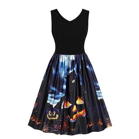 ❤ Vestido de oscilación de Halloween de Las Mujeres, Traje de Baile de Noche de Halloween sin Mangas Pumpkins Vintage Absolute: Amazon.es: Ropa y ...
