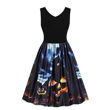 Clearance Sale!ToimothWomen Sleeveless Vintage Pumpkins Halloween Evening Prom Costume Swing Dress (Black,