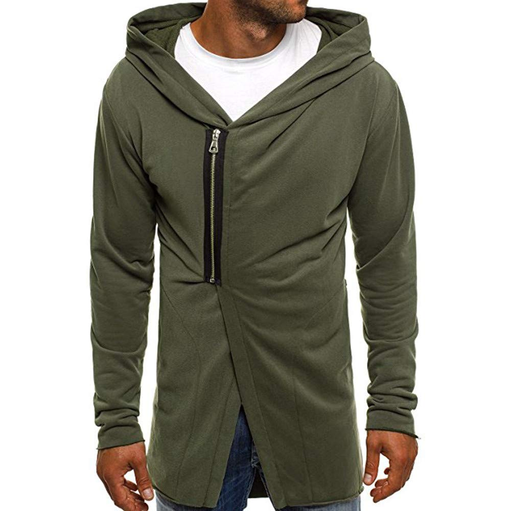 PASATO Mens Autumn Winter Casual Zipper Long Sleeve Pullover Sweatshirt Hoodie Coat Top(Army Greem, L)