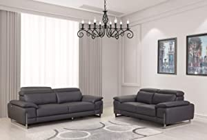 Blackjack Furniture, 636 Ellison Collection Top Grain Italian Leather Living Room 2 Piece Set Dark Gray