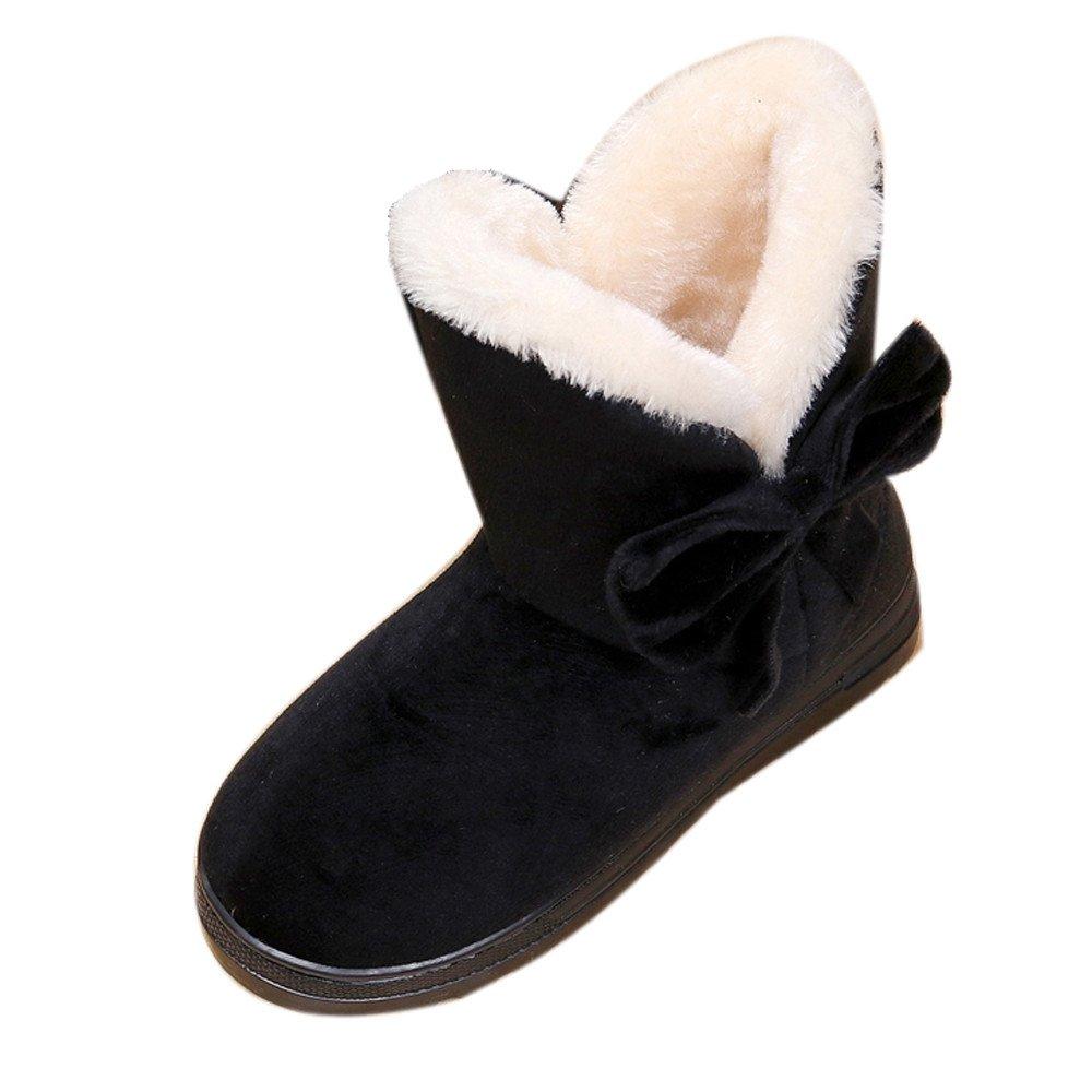 TnaIolr Bowknot Warm Women Flats Shoes Snow Women Boots Autumn Winter Shoes