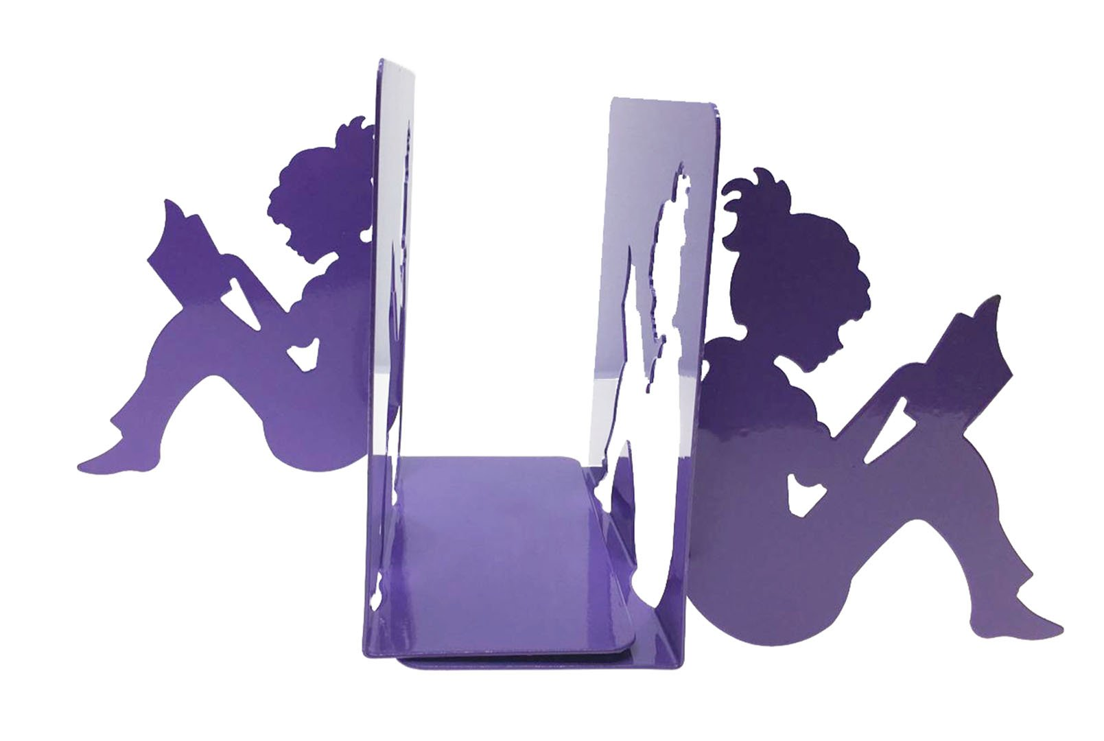 Patten Metal 3D Paper-cut Little Girl Is Reading Bookends Book Ends For Kids Teenagers Teachers Students Adults Study Home School Library Office Decoration Birthday Gift (Purple)