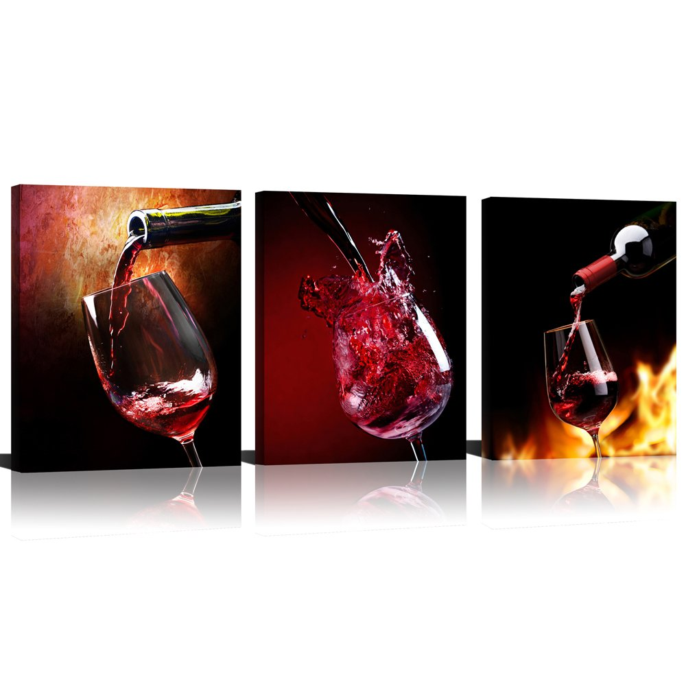 Mode Art 3 Panels Red Wine Caps on Fire Wild Photo Prints Artwork & Wall Canvas Decor for Living Room (Red)