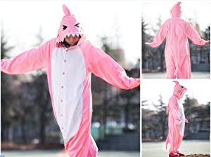 WOTOGOLD Animal Cosplay Costume Pink Shark Unisex Adult Pajamas Pink (Color: Pink, Tamaño: Small)