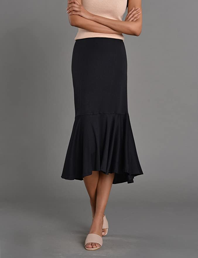 Retro Skirts: Vintage, Pencil, Circle, & Plus Sizes NEARKIN Womens Figure Hugging City Casual Mermaid Ruffle Pencil Skirt $17.99 AT vintagedancer.com