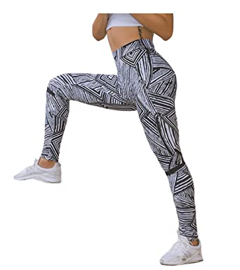 f733c4d79439 Image Unavailable. Image not available for. Color: Retro Black And White  Striped Contrast Yoga Leggings Fashion ...