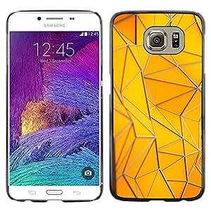 LECELL--Funda protectora / Cubierta / Piel For Samsung Galaxy S6 SM-G920 -- Polygon Building Gold Yellow Pattern --