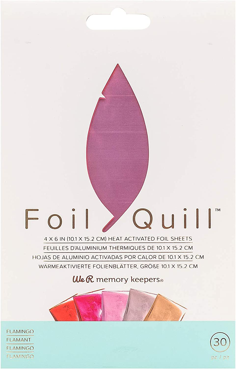 Use with Quill Pen to Create Shiny Embellishments and Designs Set of 30 Sheets in 5 Colours 4x6 Peacock We R Memory Keepers Heat Activated Foil