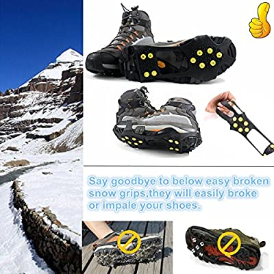 Kalevel 2pcs Anti Slip Ice Traction Snow Traction Ice Spikes Grippers for Men Women Children
