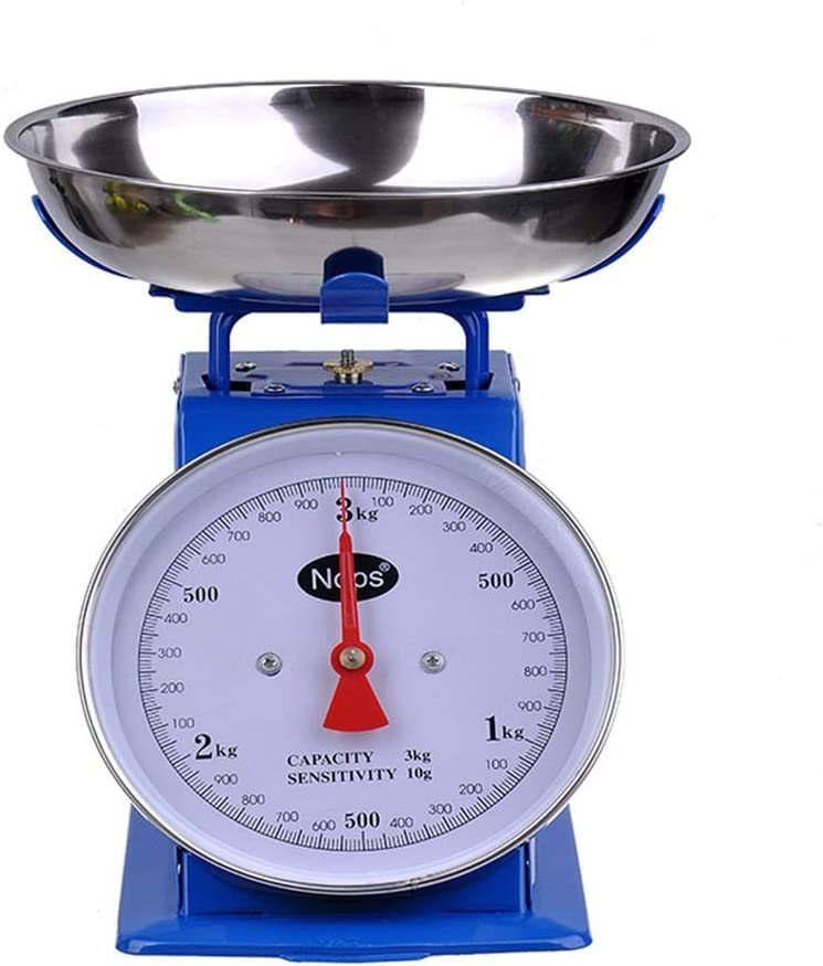 DYHOZZ 1 kg 3 kg 5 kg Escalas mecánicas de Hierro de Metal Balanzas de Cocina domésticas con Bandeja sin baterías (Size : 3KG)