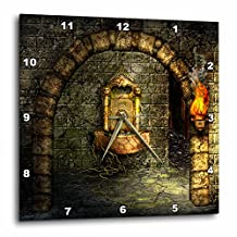 3dRose A Medieval Room Features an Enchanted Fountain As a Torch Burns Nearby - Wall Clock, 15 by 15-Inch (dpp_11908_3)