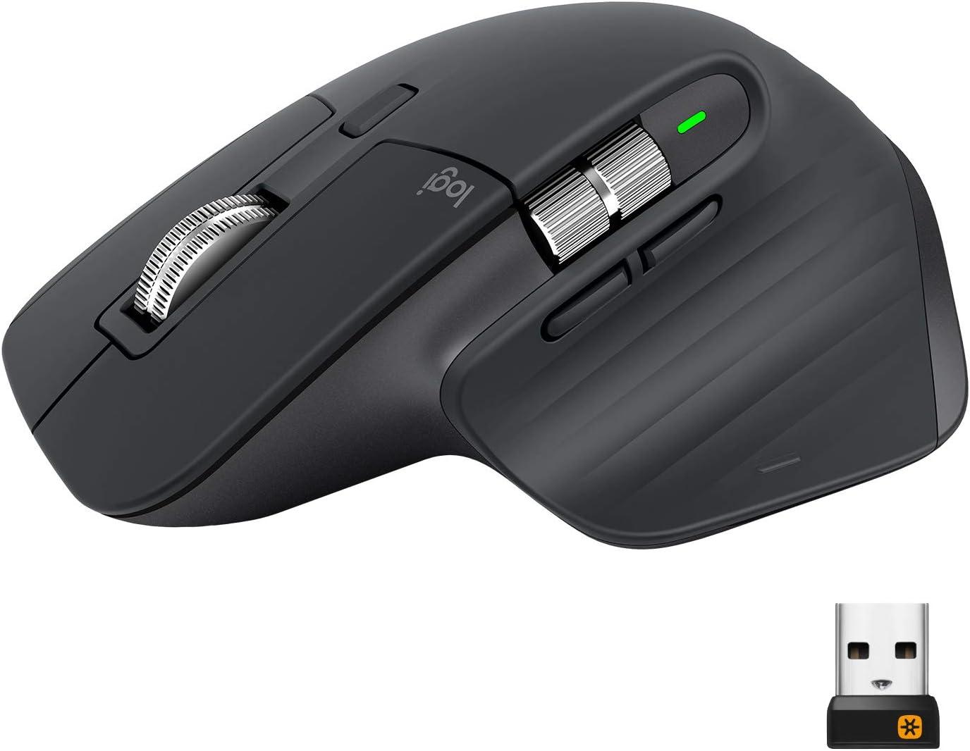 Logitech MX Master 3 Advanced Ratón Inalámbrico, Receptor USB, Bluetooth/2.4GHz, Desplazamiento Rápido, Seguimiento 4000 DPI en Cualquier Superficie, 7 Botones, Recargable, PC/Mac/Portátil/iPadOS
