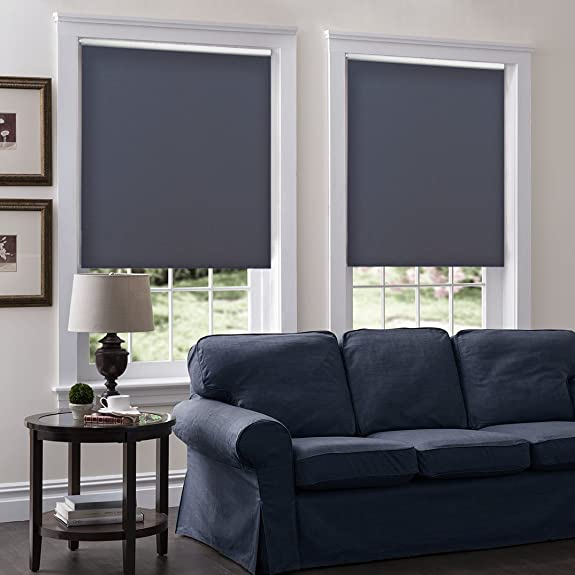 Windowsandgarden Cordless Roller Shades, Any Size 19-96 Wide, 24W x 56H, Serena Light Filtering Room Darkening Charcoal