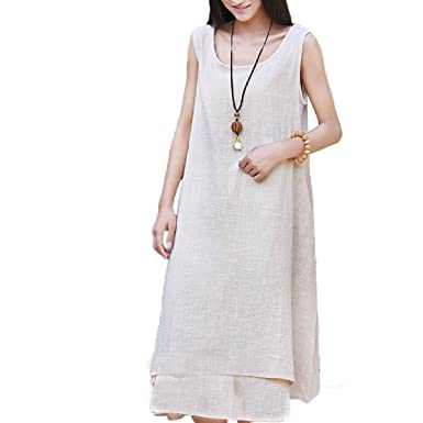 bc489bed37 COCOUSM Womens Casual Double-Layer Sleeveless A-Line Linen Cotton Dresses