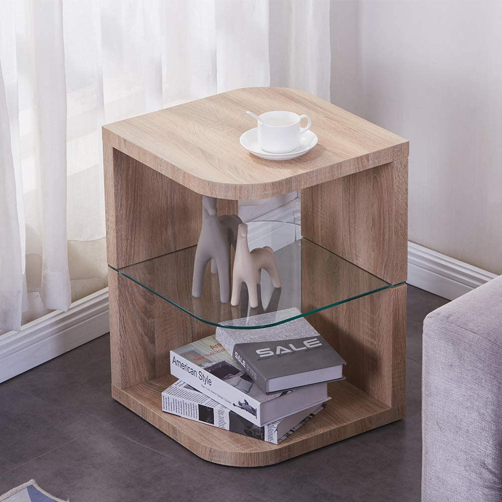 GOLDFAN 3 Livelli Legno Tavoline da caff/è Vetro Tavoline da Salotto Piccolo con Contenitore Marrone Chiaro Design Moderno Comodino da Tavolo Quadrato