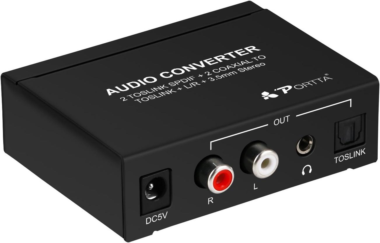 2 Toslink und 2 Koaxial Digital-Audio-Schalter auf 3 Ausg/änge SPDIF//Toslink Portta SPDIF 4 Ports 3,5 mm Headset mit IR-Unterst/ützung LPCM DTS Dolby-AC3 f/ür Blu-ray DVD-Verst/ärker Analog R//L RCA