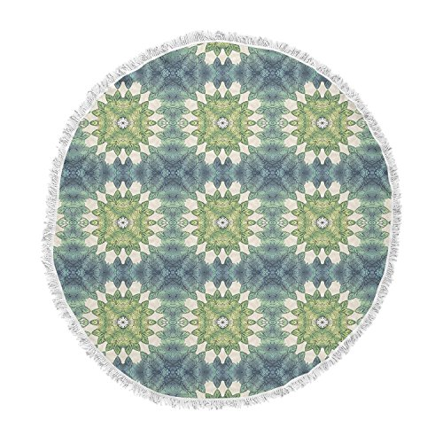 KESS InHouse Art Love Passion Forest Leaves Pattern Green Geometric Round Beach Towel Blanket by Kess InHouse