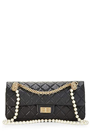 fb2d722e8e16 CHANEL Black Quilted Calfskin Pearls Reissue 2.55 (Pre-Owned): Handbags:  Amazon.com