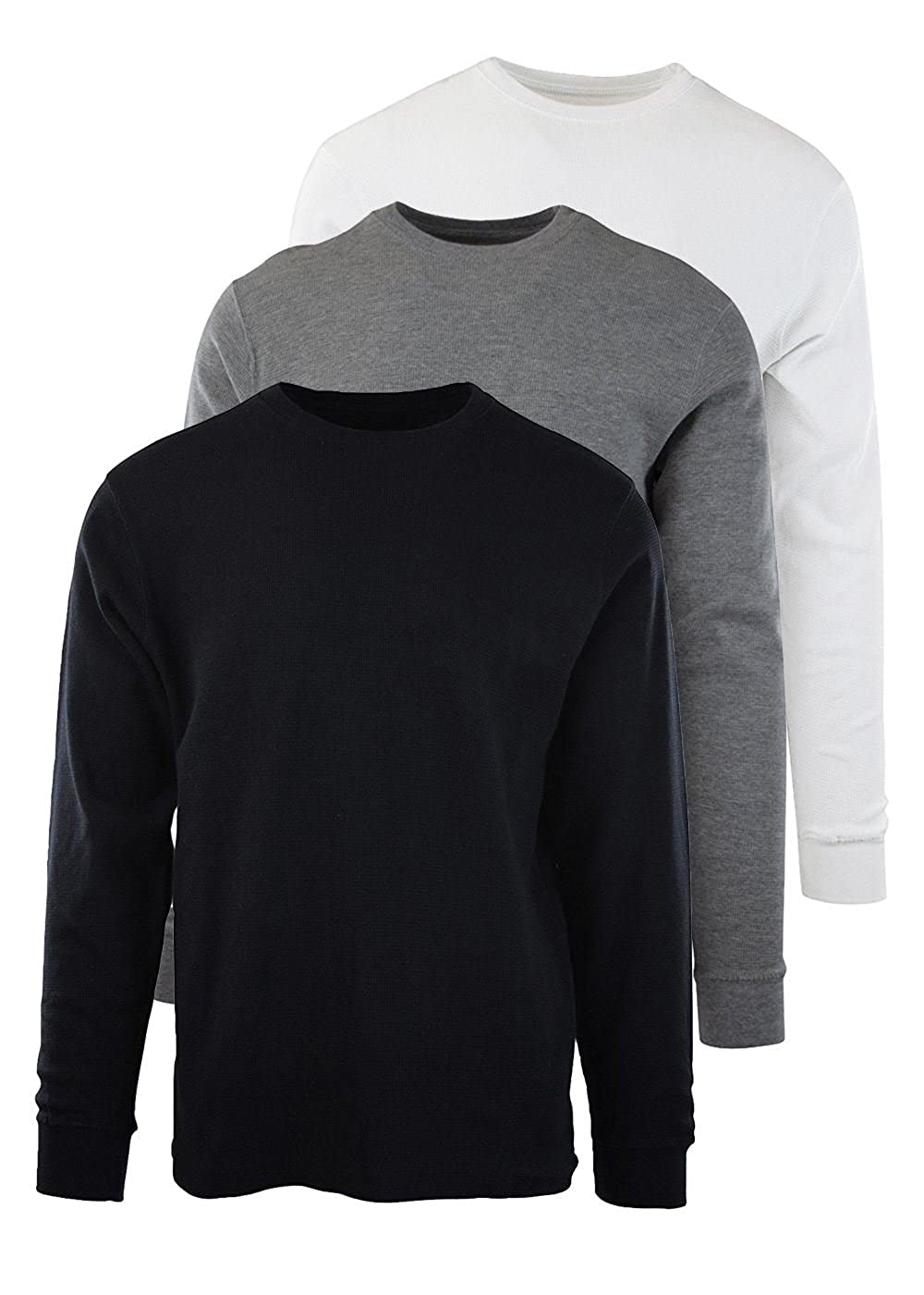 Byn Dynasty Men's Thermal Lightweight T-Shirt 3-Pack Long Sleeve Waffle-Knit Crew Neck