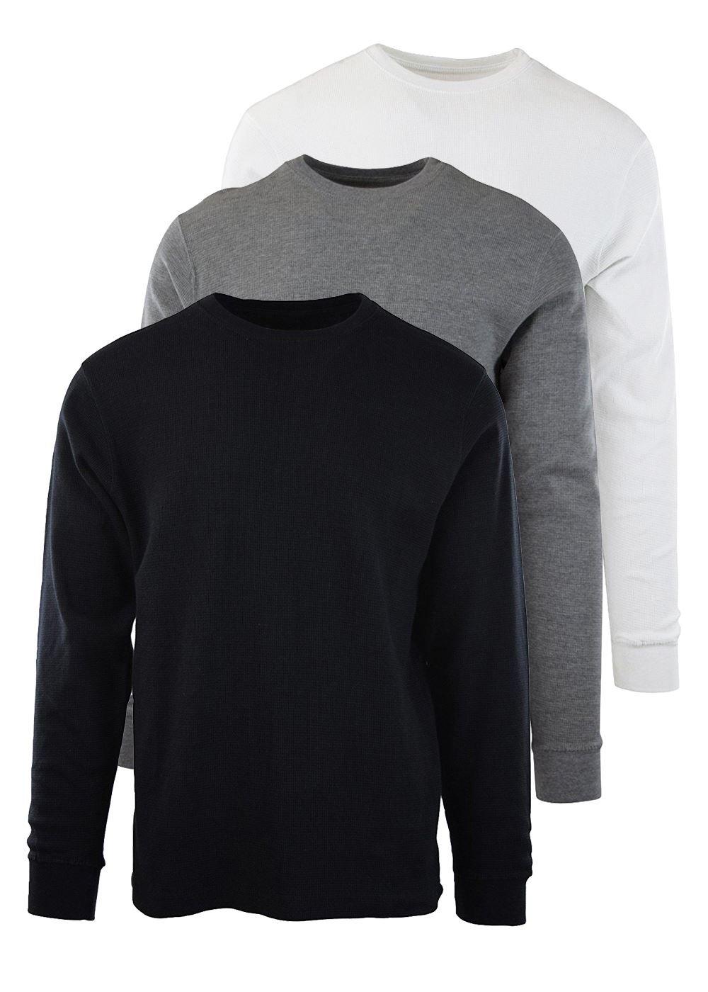 Byn Dynasty Thermal 3-Pack Long Sleeve Shirt Black White Grey Medium