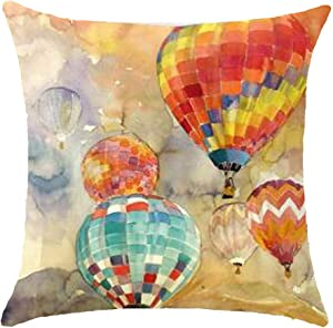 "Oil Painting Series Hot Air Balloon Throw Pillow Case Cushion Cover Decorative Cotton Blend Linen Pillowcase for Sofa 18""X 18"" (1) ¡"