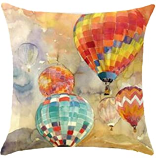 Oil Painting Series Hot Air Balloon Throw Pillow Case Cushion Cover Decorative Cotton Blend Linen Pillowcase