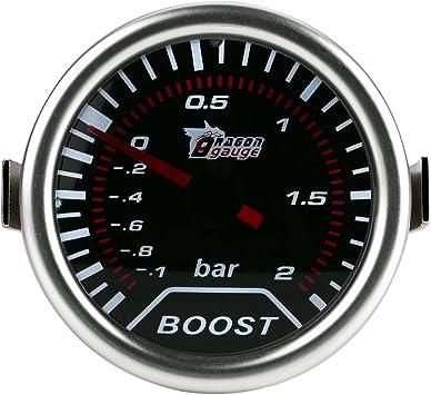 Auto Red Led Turbo Boost Pressione Misuratore Meter Bar Indicatore Qiilu Universal 2 Pollici 12V 50mm