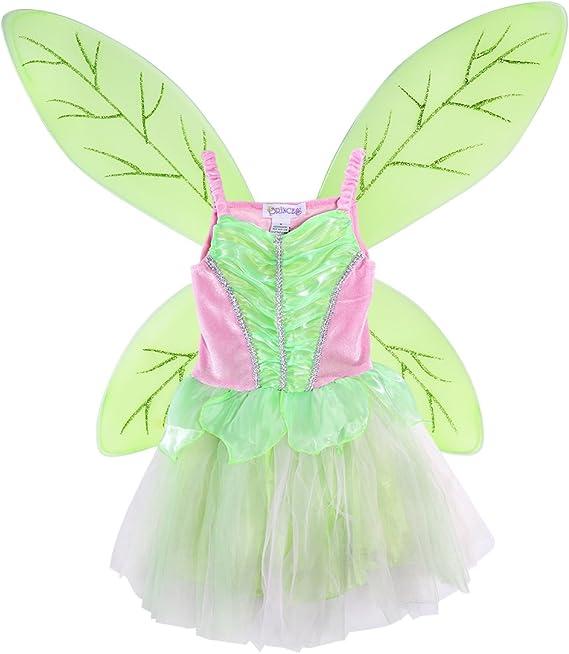 Luoem Deguisement Fee Fille Costume Fee Clochette Enfant Ailes De Fee Papillon Et Robe Fee Rose Vert Taille L 125 140cm Amazon Fr Vetements Et Accessoires