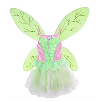 luoem madchen fee tinkerbell kostum pixie tinkerbell flugel und kleid set grun rosa grosse l 125