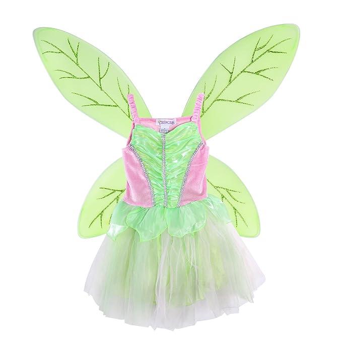 LUOEM Disfraz Hada Niña Alas de Hada Mariposa y Vestido Disfraz Campanilla Niña Verde Rosa Talla L 125-140cm