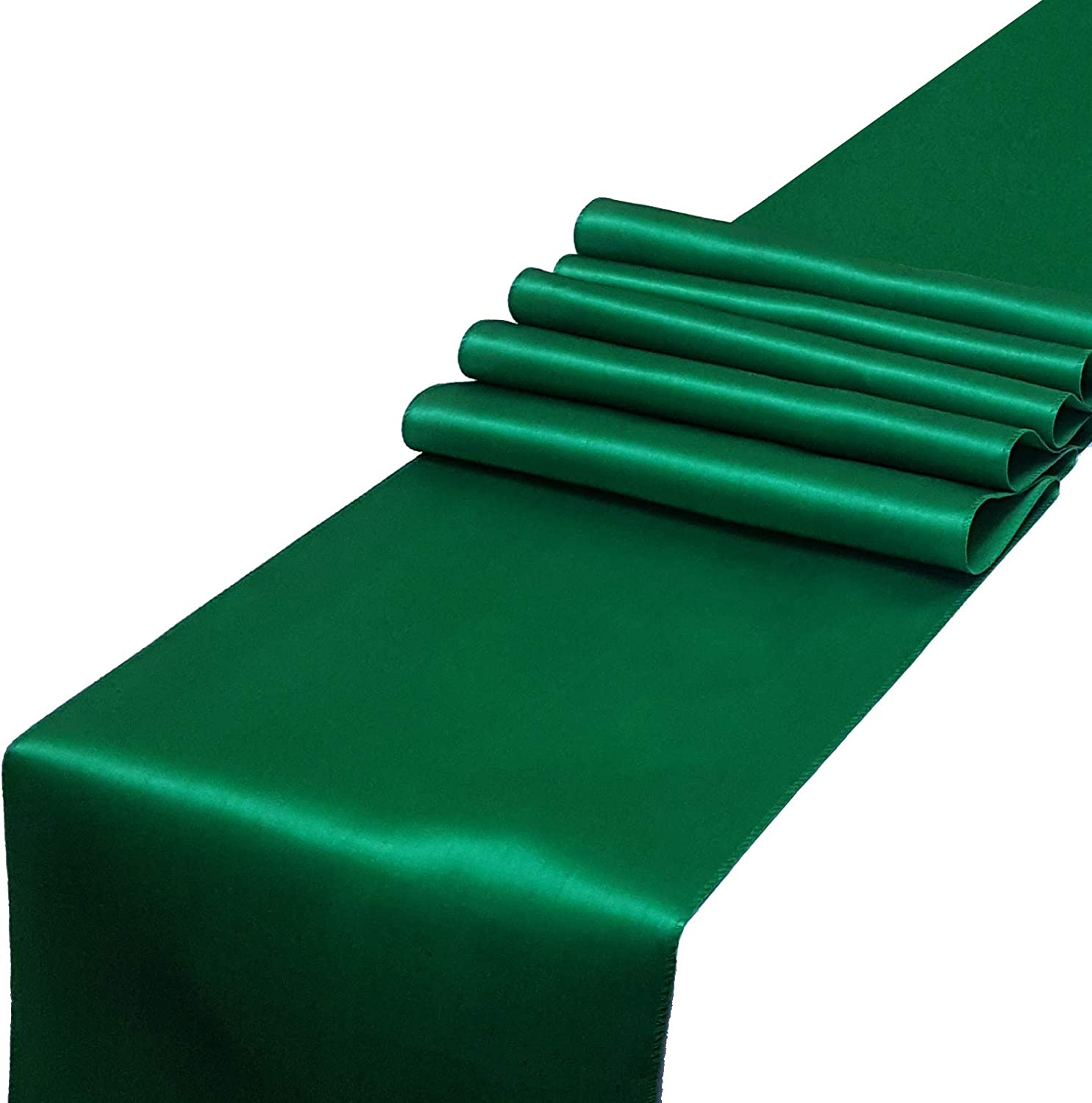 Parfair Dessin Pack of 5 Satin Table Runners 12 x 108 inch for Wedding Banquet Decoration, Bright Silk and Smooth Fabric Party Table Runner - Green