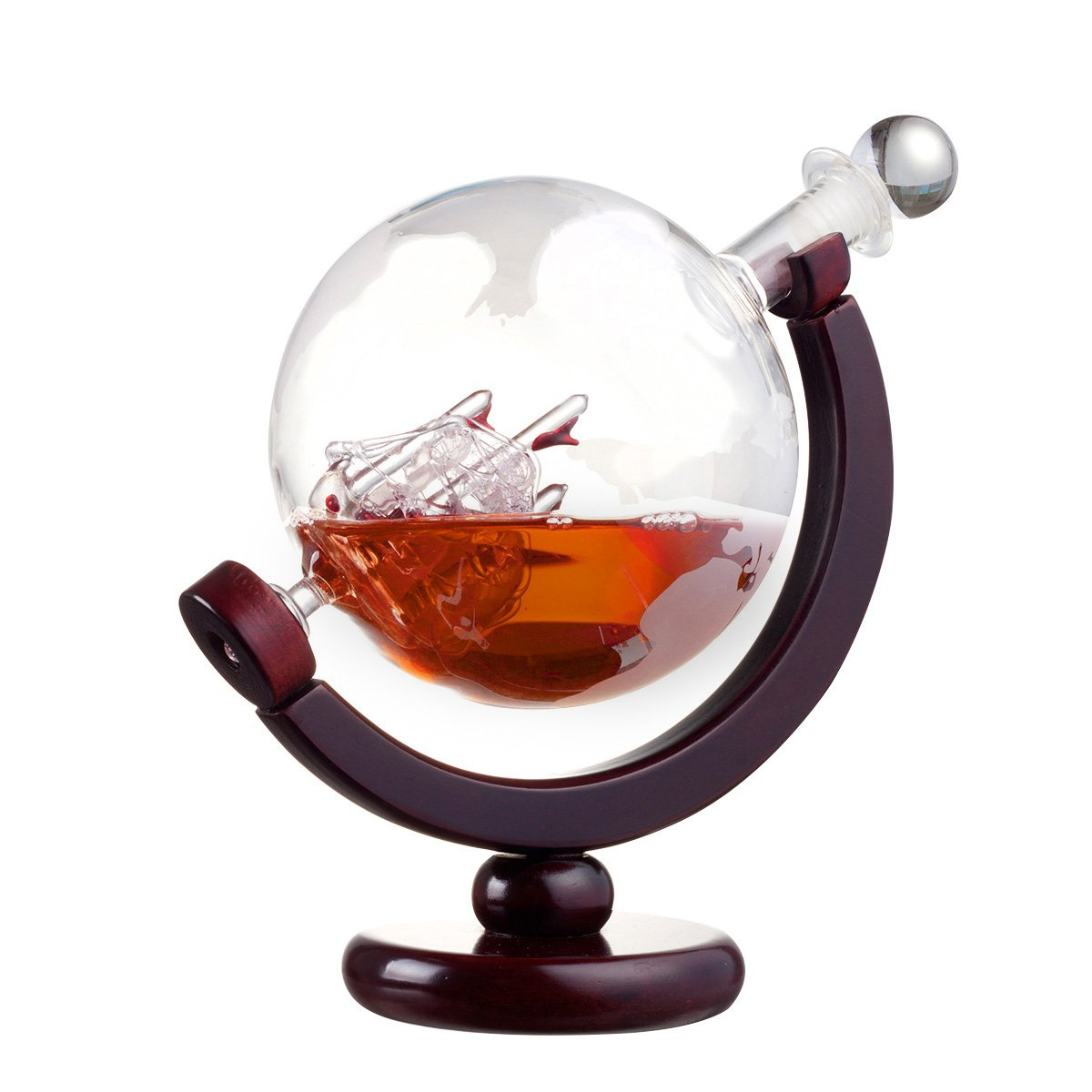 ZARIFINTERNATIONAL 850ml Global Wine Whiskey Decanter with Antique Ship inside and Wooden Stand
