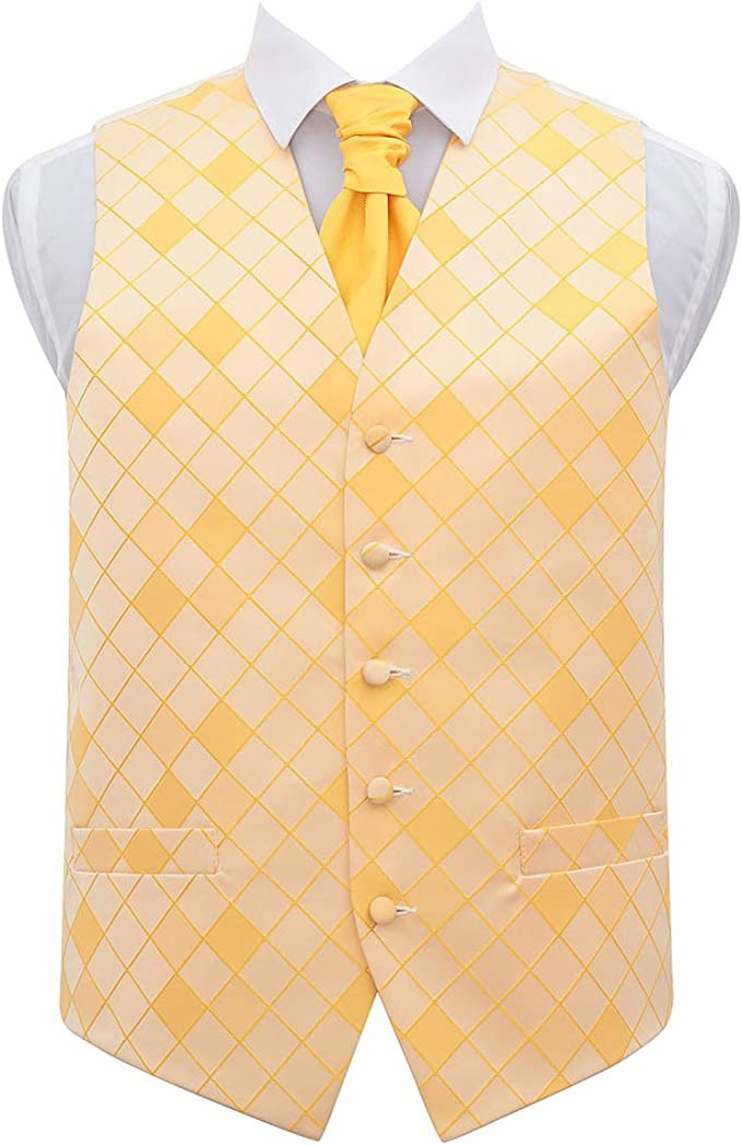 DQT Woven Scroll Patterned Gold Mens Wedding Waistcoat Bow Tie Set