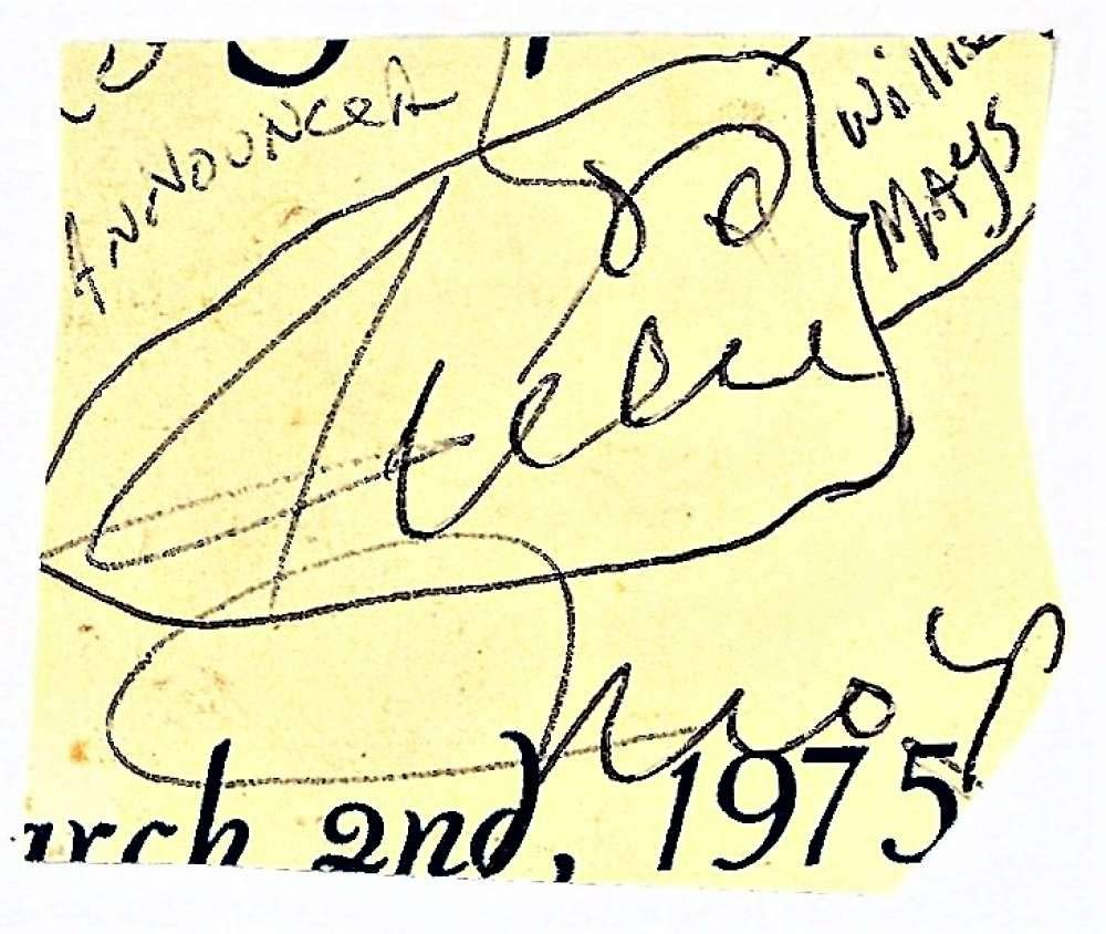 Willie Mays Signed Autographed 2x2 Vintage Cut Signature Beckett BAS