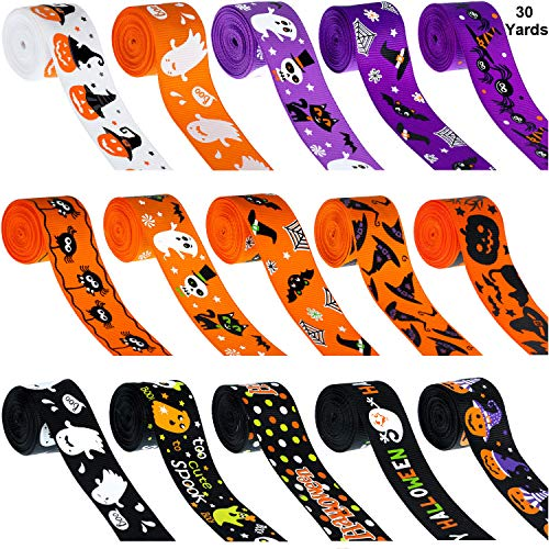 30 Yards Halloween Grosgrain Ribbons Black Orange Purple Halloween Wreath Ribbons Decoration Hair Bows Ribbons with Ghost Hat Spider Bat Print for Gift Wrapping, 1 Inch (Making Bow For Wreath With Wired Ribbon)