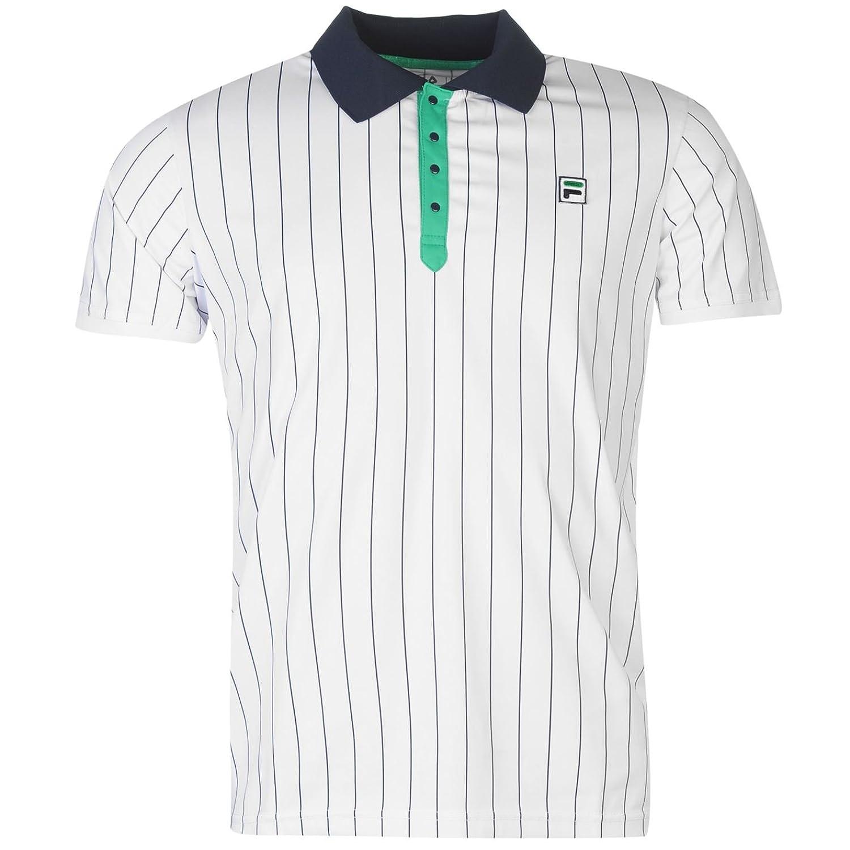 a0a7a43168 Fila Hombre A Rayas Polo Camisa Quick Dry Tenis Deporte Mangas Cortas  Collar Top alta calidad