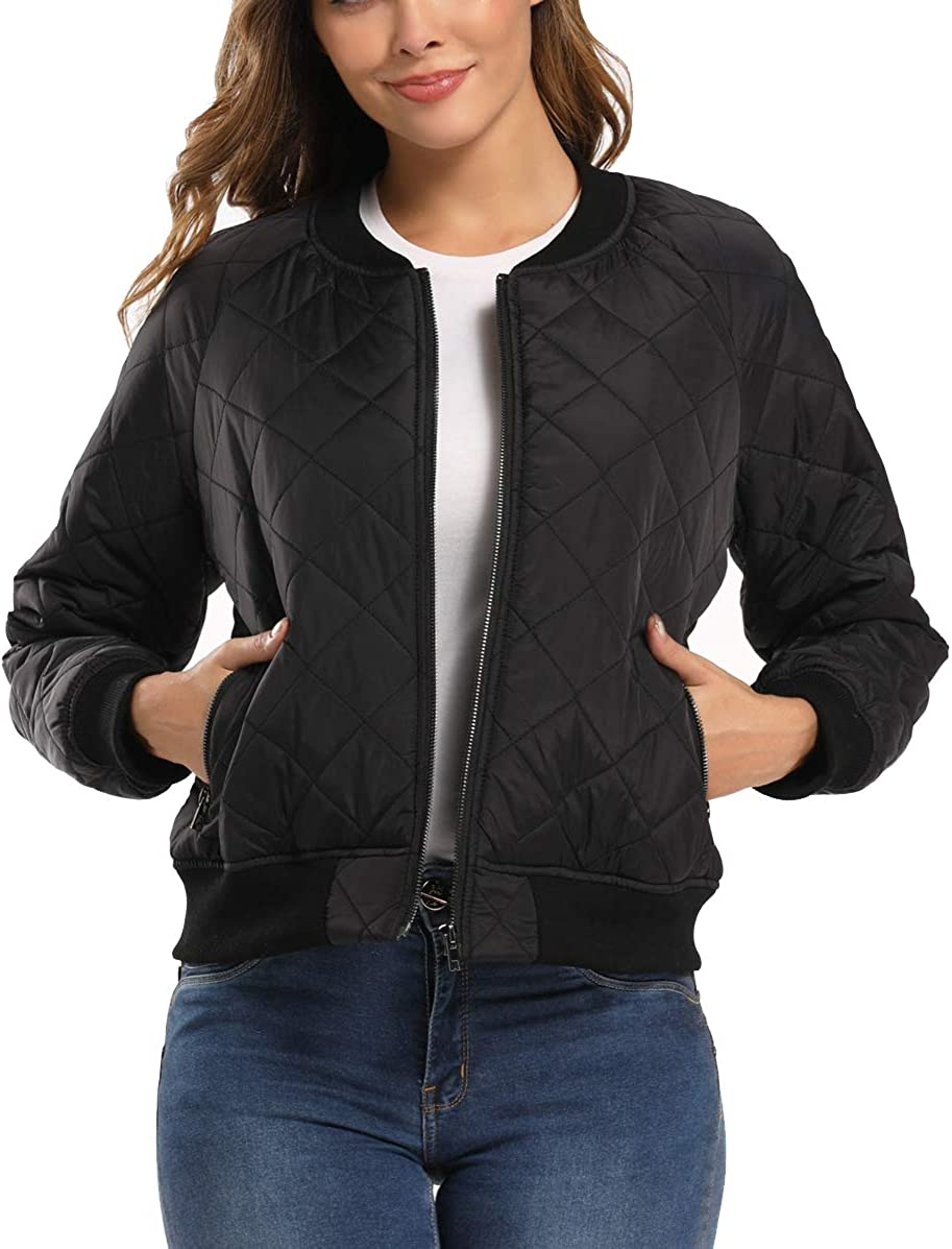 Womens Lightweight Quilted Jacket Padded Long Sleeves Zip Up Puffer Coat Classic Bomber Jacket
