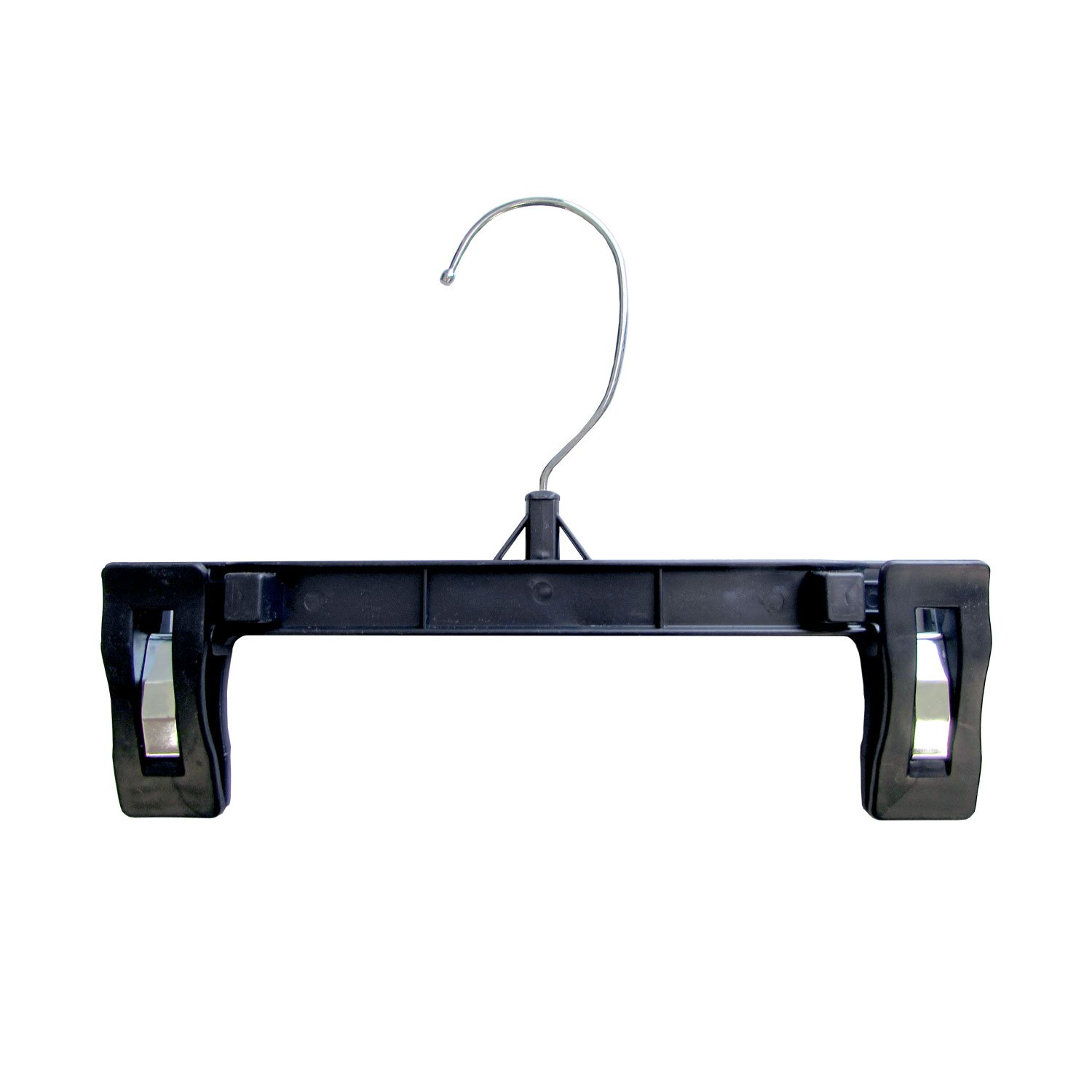 Hanger Central Recycled Heavy Duty Plastic Bottoms Hangers with Ridged Pinch Clips Pants Hangers, 8 inch, Black, 50 Pack R6008B-50