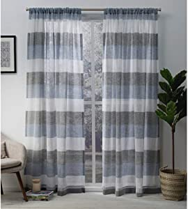 Exclusive Home Curtains Bern Striped Sheer Rod Pocket Panel Pair, 54x96, Indigo, 2 Count