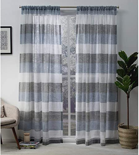 Exclusive Home Curtains Bern Striped Sheer -Rod Pocket Panel Pair, 54×108, Indigo, 2 Piece