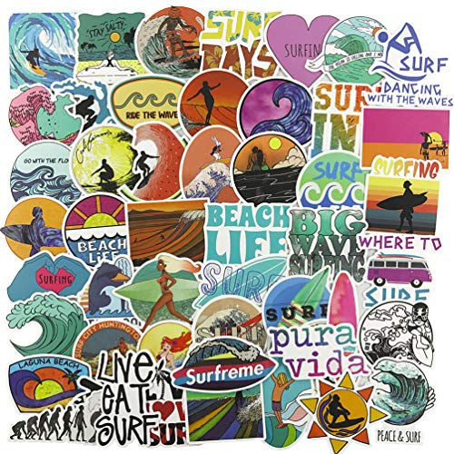 Cute Ocean Beach Stickers for Girl, Vinyl Water Bottle Laptop Computer Phone Notebook Luggage Guitar Skateboard Decal 50Pcs Pack