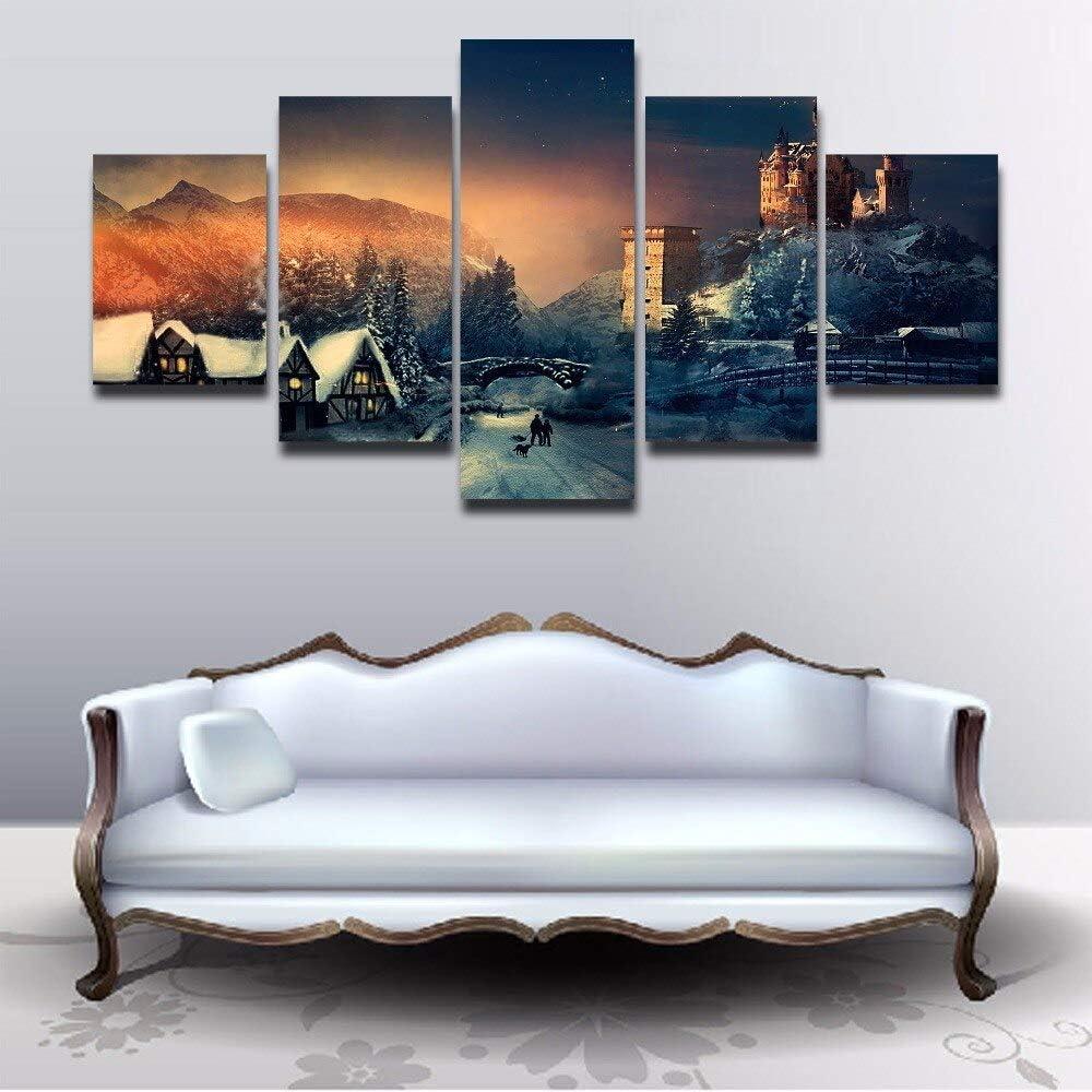 5 Paneles Modernos Decorativos en el Invierno Paisaje de Nieve sobre Lienzo Habitación Moderna Decoración del hogar Imprimir póster Imagen: Amazon.es: Hogar