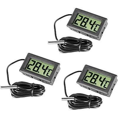 Termómetro digital de acero para nevera y congelador de Inrigorous, color negro, 3 unidades