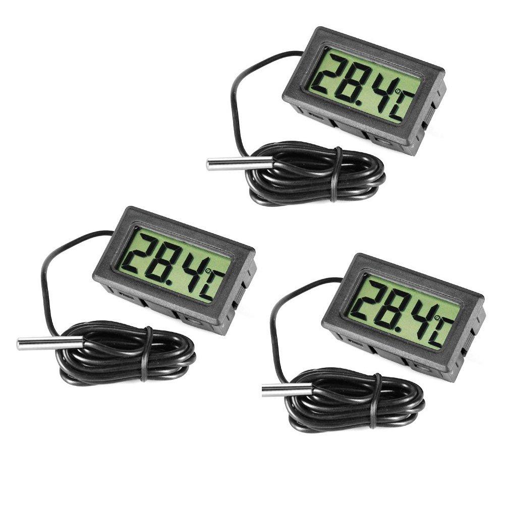 3 Pcs Digital LCD Thermometer Temperature Monitor with External Probe for Fridge Freezer Refrigerator Aquarium by INRIGOROUS