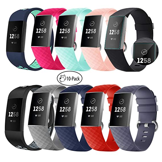 hellosy compatible for fitbit charge 3 bands, soft safety waterproof and  sweat resistant silicone material, with metal buckle and seamless  connection